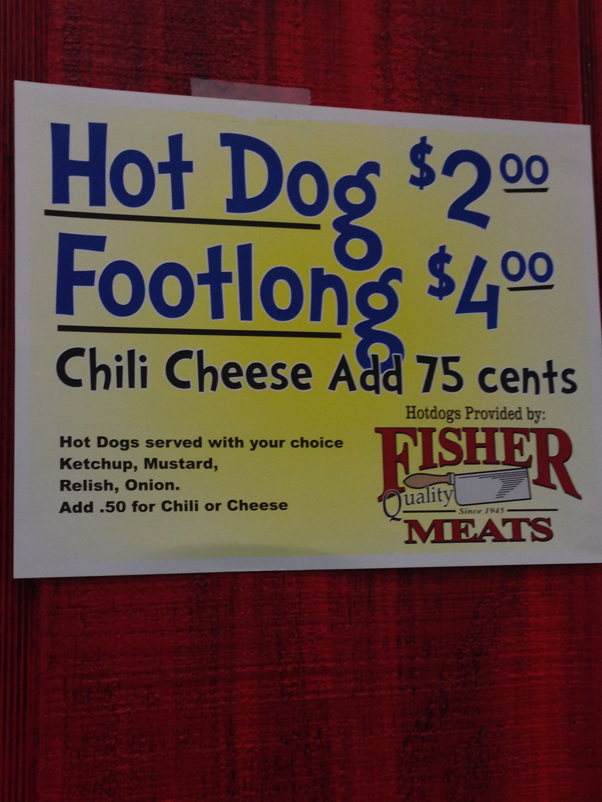 They serve Hot Dogs from Fisher Meats