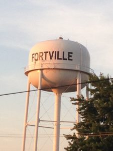 View of Fortville water tank for roof deck.